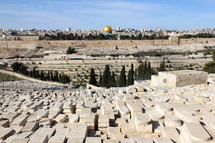 Jewish cemetery overlooking the Kidron Valley and old city of Jerusalem
