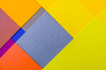 blue, yellow, orange, papers