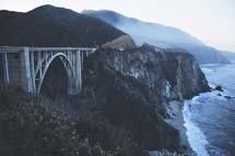 bridge and sea cliffs