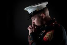 praying Marine in uniform