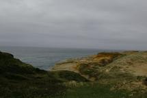 Grassy dunes beside the ocean.