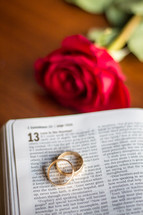 red rose and wedding bands on the pages of a Bible