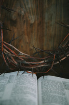 crown of thorns over an open Bible