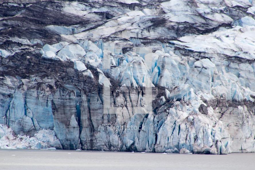 snow pack along the coast of Alaska