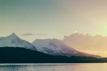 sunset, ocean, water, snow, mountain peaks, mountains, outdoors, sky