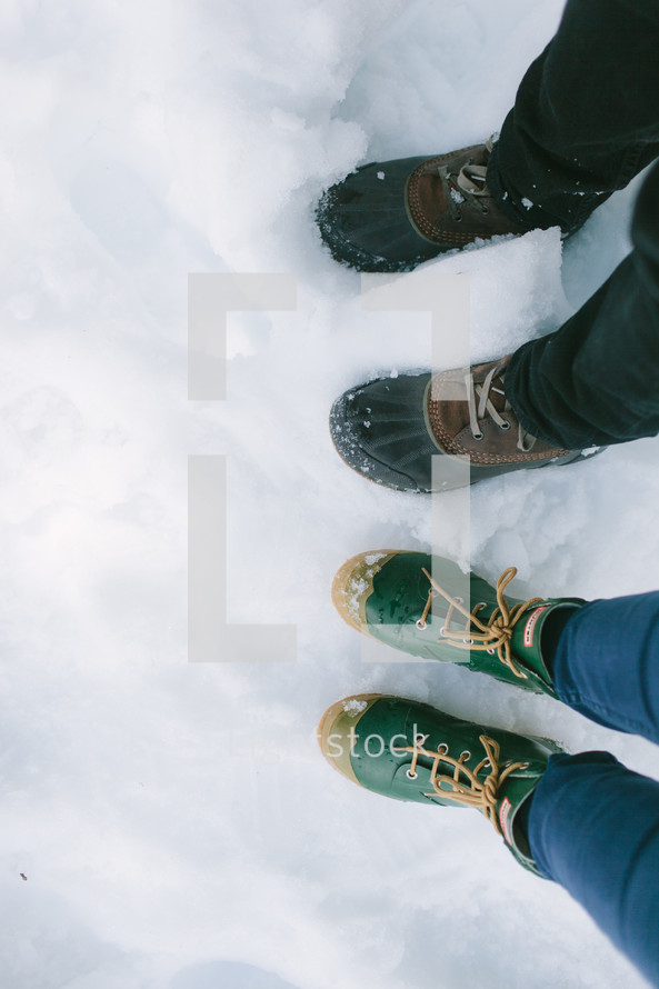 rubber boots in snow