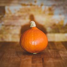 orange gourd on a wood background