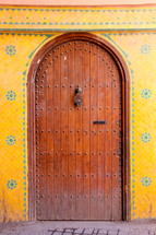 Ancient oriental wooden door.