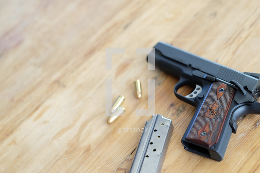 hand gun and bullets