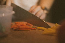 chopping vegetables