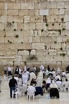 Men praying at the Western Wall, Jerusalem