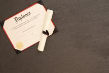 diploma on slate