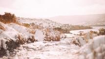 fresh snow on rocky terrain