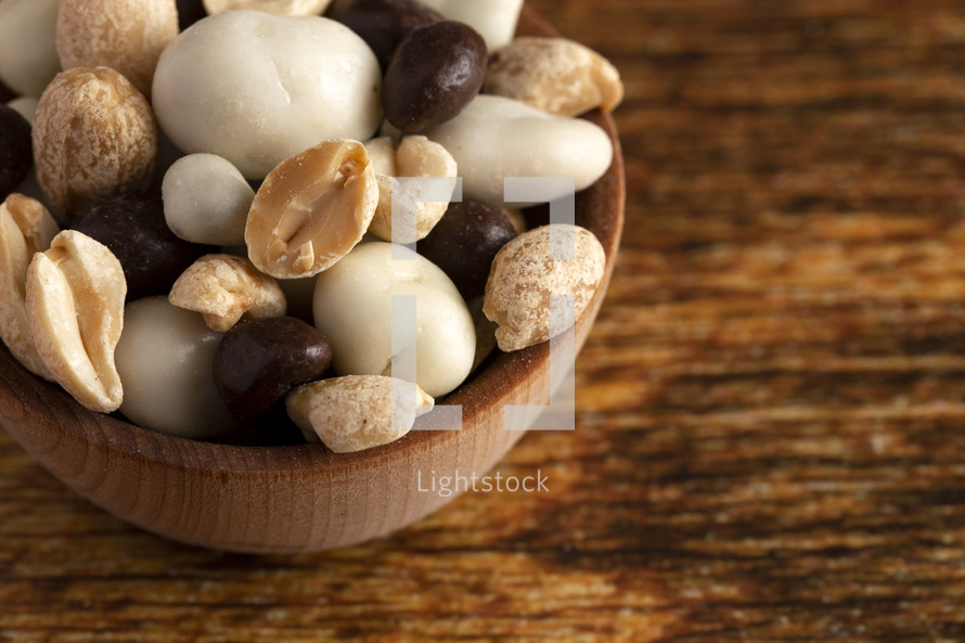 A Wooden Bowl Filled with Healthy Trail Mix