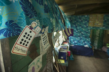 curtains in a school house on a tropical island