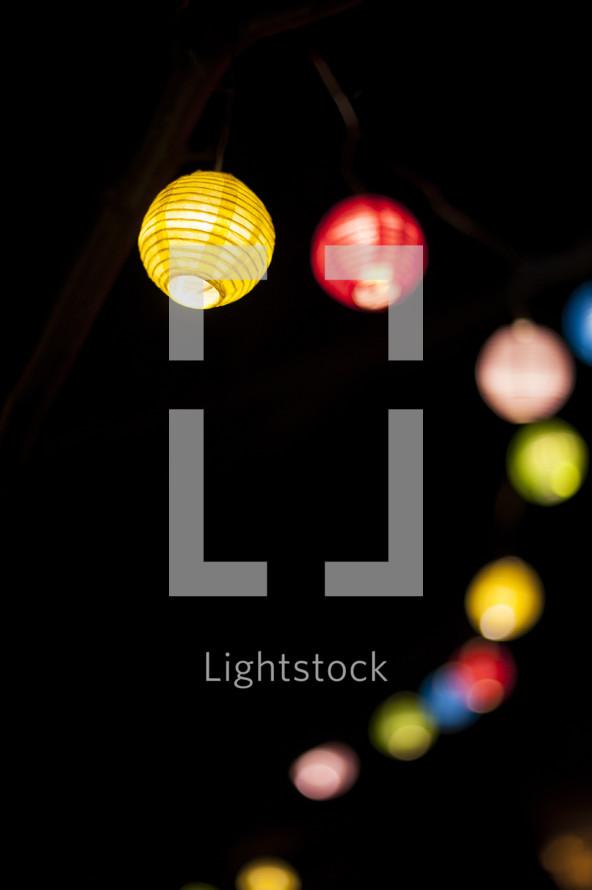 paper globe lights at night
