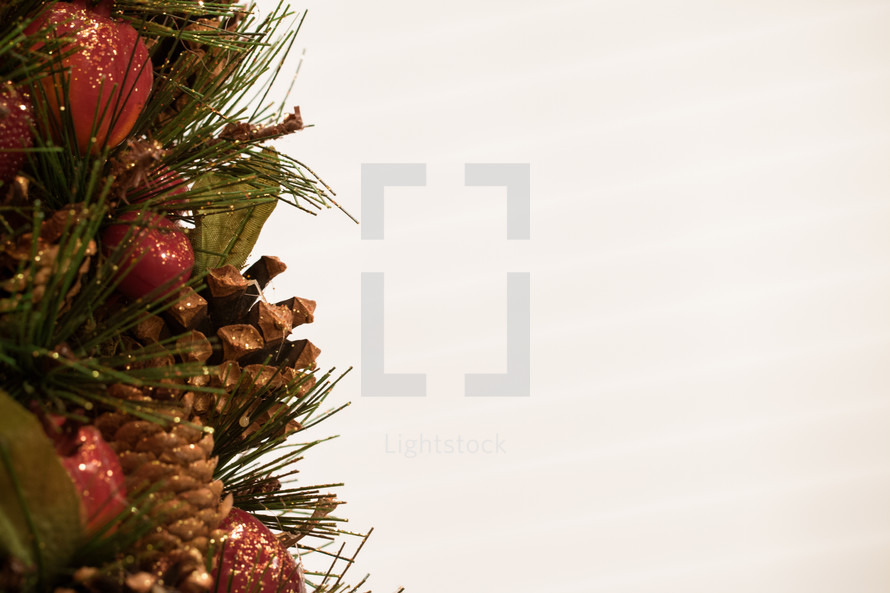 Holiday Christmas Decor against a Solid White Background