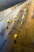 yellow roses at the 9/11 memorial