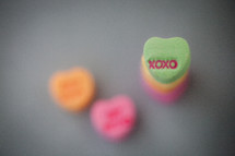 stacked candy conversation hearts for Valentine's day