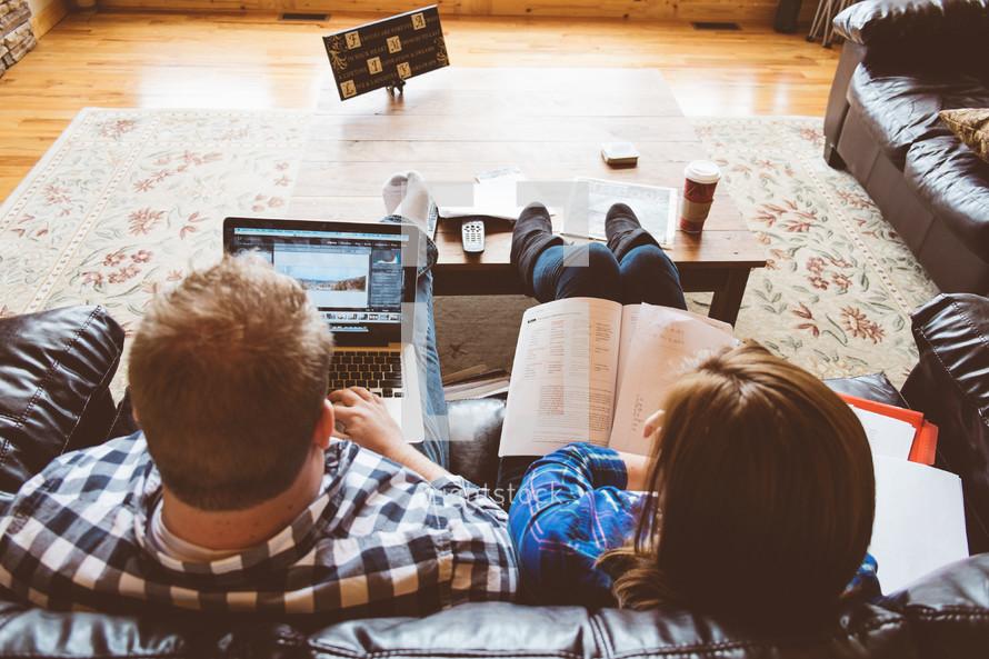 Couple's home Bible study.
