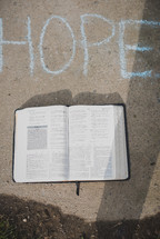 word Hope and open Bible