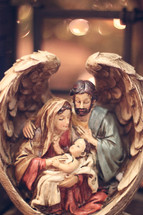nativity scene in angel wings