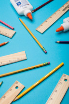 blue, rulers, pencils, back to school, background, glue, colored pencils