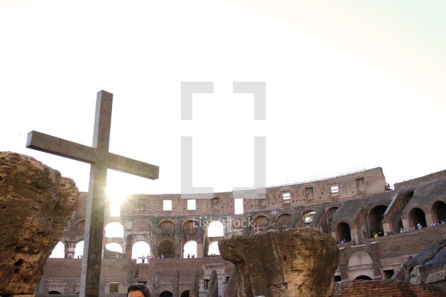 The cross inside the Roman Colosseum