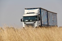 semi truck and tall brown grasses