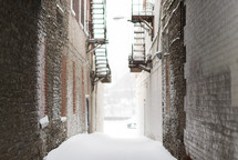 snow in an alley