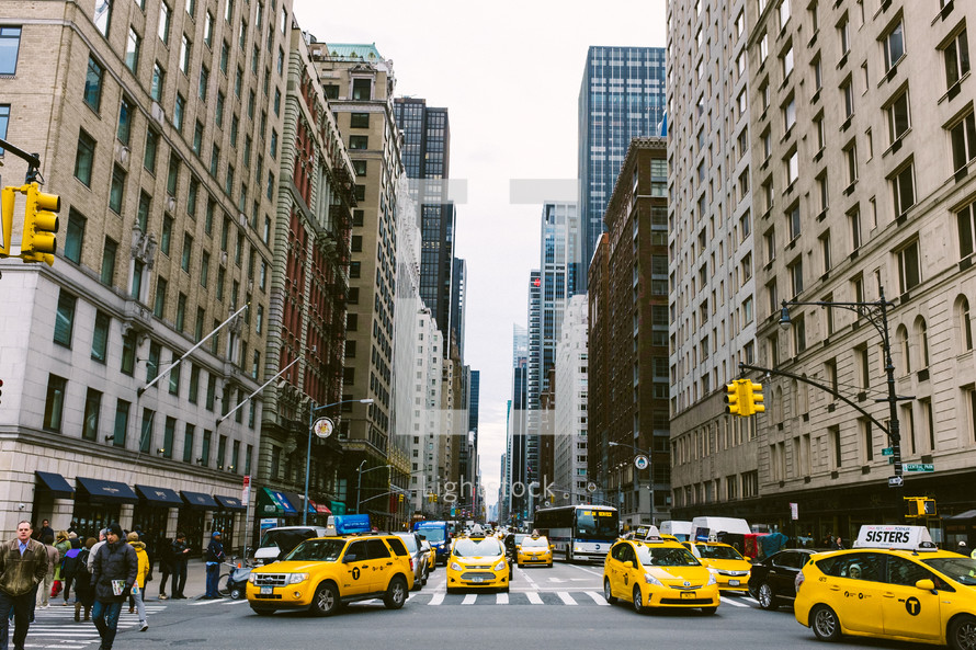 yellow cabs in a city