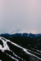 ski slopes down a mountainside