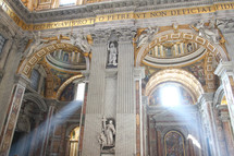 Light beaming through the windows of St. Peter's Basilica in Vatican City
