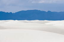 White Sand and Blue Mountains in New Mexico.