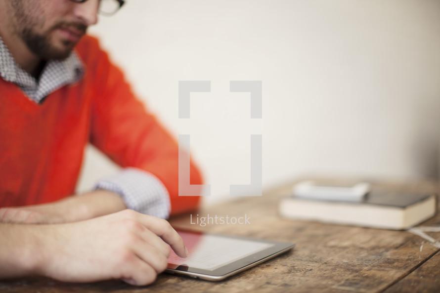 A man on his iPad