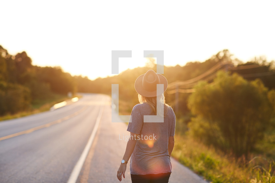 woman looking at the road ahead