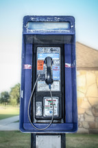 View of a pay phone outside