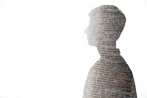 silhouette of a man of newspaper print