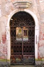 iron gate in a doorway