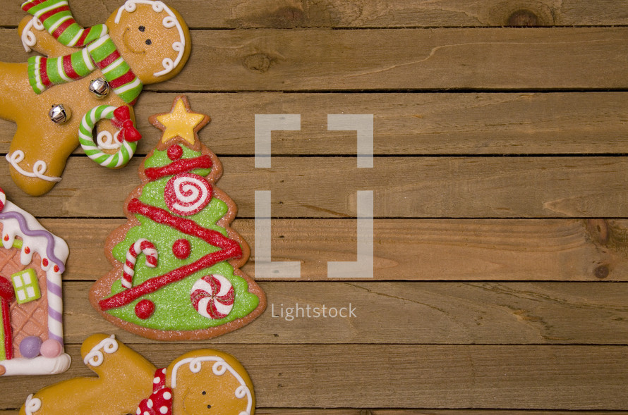 Christmas tree,  gingerbread man, and gingerbread house cookie