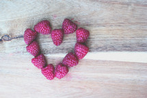 raspberries in the shape of a heart