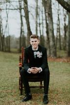 teen boy in a tuxedo
