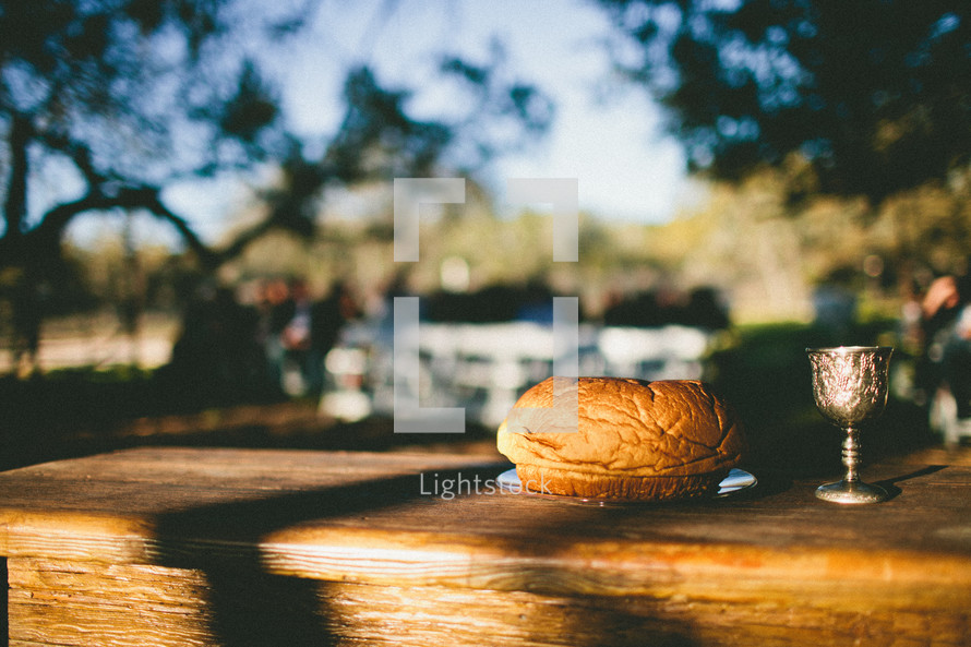 sunlight on an outdoors table with communion bread and wine