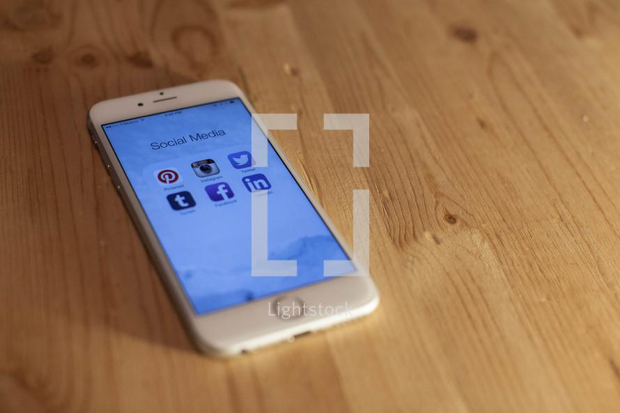 social media apps on a cellphone screen