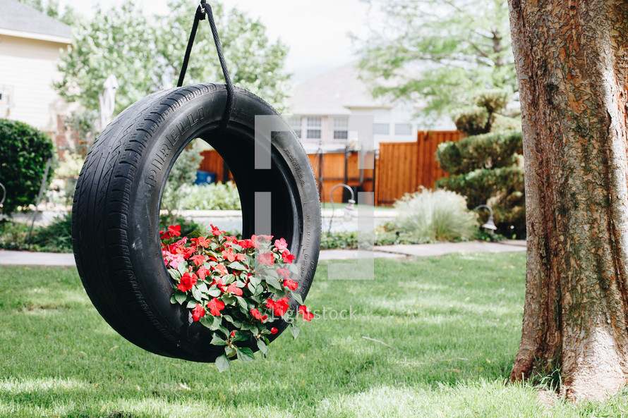 flowers planted in a tire swing