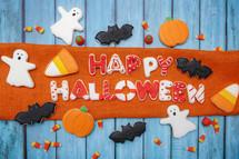 Homemade Halloween cookies background