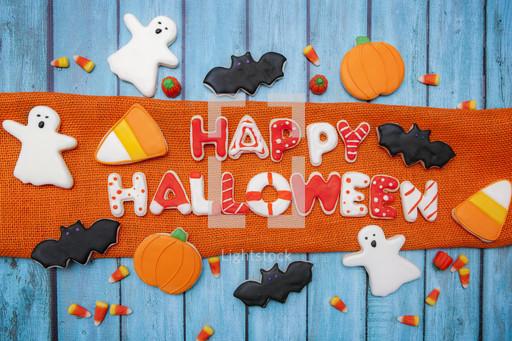 Homemade halloween cookies background — Photo — Lightstock