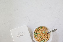 Holy Bible and milk and cereal