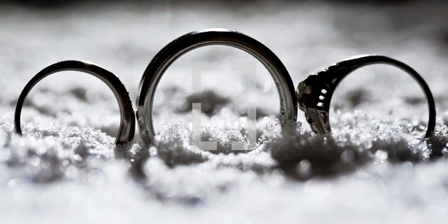 wedding bands in snow