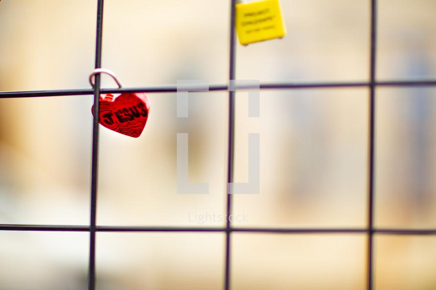 Jesus heart shaped love lock